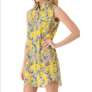 Club Monaco Lois Yellow Print Shirt Dress